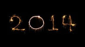 Nieuwjaar 2014 gemaakt van echte fonkelingen Royalty-vrije Stock Afbeeldingen