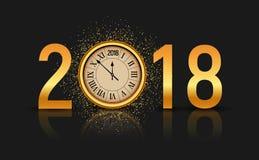 2018 nieuwjaar glanzende achtergrond met klok Gelukkige nieuwe de decoratieaffiche van de jaar 2018 viering, feestelijk kaartmalp stock illustratie
