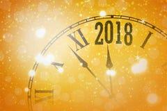 2018 nieuwjaar glanzende banner met klok stock illustratie