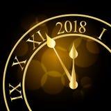 2018 nieuwjaar glanzende banner met klok Vector illustratie vector illustratie