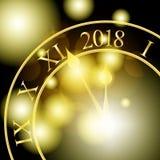 2018 nieuwjaar glanzende banner met klok Vector illustratie stock illustratie