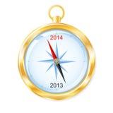 Nieuwjaar 2014 gouden kompas Stock Foto