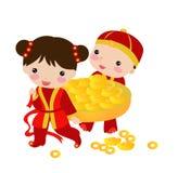 Nieuwjaar Greetings_boy en meisje Royalty-vrije Stock Fotografie