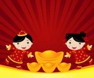 Nieuwjaar Greetings_boy en meisje Stock Afbeelding