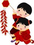 Nieuwjaar Greetings_children Stock Afbeelding