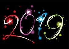 Nieuwjaar 2019 grote gebeurtenis stock illustratie
