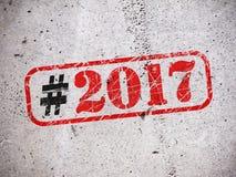 Nieuwjaar 2017 hashtag Royalty-vrije Stock Foto