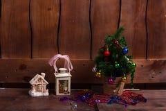 Nieuwjaar in het dorp royalty-vrije stock afbeeldingen