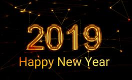 2019 Nieuwjaar het glanzen gouden 3d stock foto