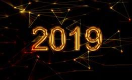 2019 Nieuwjaar het glanzen gouden 3d stock afbeeldingen
