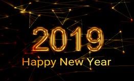 2019 Nieuwjaar het glanzen gouden 3d stock fotografie