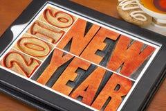 Nieuwjaar 2016 in houten type Stock Foto's