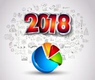 2018 nieuwjaar Infographic en de Achtergrond van het Businessplan met hand Royalty-vrije Stock Fotografie