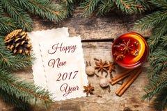 Nieuwjaar 2017 kaart met Kerstmisdecoratie Stock Afbeelding