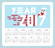 Nieuwjaar 2017 kalender Vlak Ontwerp Grote witte brieven Eenvoudige vormen Vector illustratie Malplaatje voor stock foto's