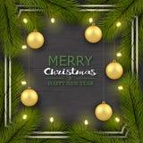 Nieuwjaar, Kerstmis achtergrond realistische groetkaart Boomtakken, gouden ballen, gloeilampen in een kader stock illustratie