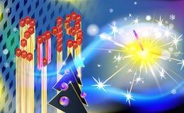 Nieuwjaar of Kerstmis uitstekende beeldverhaalachtergrond met bont-boom en abstracte inschrijving Isometry 2019 De lichte kaart v vector illustratie