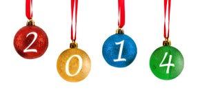 Nieuwjaar 2014 Kerstmisballen Stock Afbeeldingen