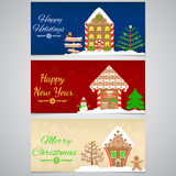 3 nieuwjaar, Kerstmisbanner met peperkoekhuis, boom, sneeuwman en andere feestelijke decoratie Royalty-vrije Stock Foto's