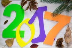2017 nieuwjaar Kleurrijke aantallen op de achtergrond Stock Fotografie