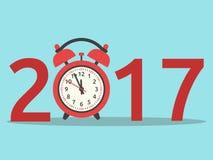 Nieuwjaar 2017, klok Vector Illustratie