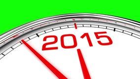 Nieuwjaar 2015 Klok (het Groene Scherm) stock illustratie