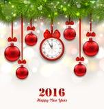 Nieuwjaar Magische Achtergrond met Klok, Spartakjes Royalty-vrije Stock Afbeeldingen
