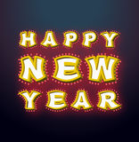 Nieuwjaar met lampen uitstekend teken Gloeiende brieven Glanzende wijnoogst Royalty-vrije Stock Afbeelding