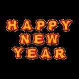 Nieuwjaar met lampen uitstekend teken Gloeiende brieven Glanzende wijnoogst Royalty-vrije Stock Foto