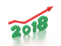 Nieuwjaar 2018 met Sleutel Stock Afbeeldingen