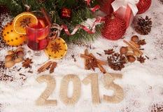 Nieuwjaar 2015 met Sneeuw Royalty-vrije Stock Afbeeldingen