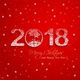 2018 nieuwjaar met sneeuweffect op rode achtergrondgroetkaart stock illustratie