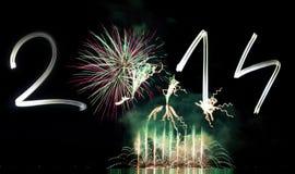 Nieuwjaar 2014 met Vuurwerk Stock Afbeelding