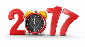 Nieuwjaar 2017 met wekker Stock Afbeeldingen