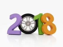 Nieuwjaar 2018 met Wiel Royalty-vrije Stock Foto
