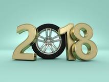 Nieuwjaar 2018 met Wiel Royalty-vrije Stock Foto's