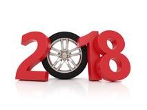 Nieuwjaar 2018 met Wiel Royalty-vrije Stock Afbeeldingen