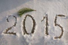 Nieuwjaar 2015 om op de sneeuw te schrijven Stock Fotografie