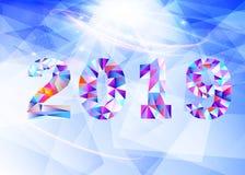 2019 Nieuwjaar op de achtergrond van een kleurrijk element van het driehoeksontwerp Vector illustratie EPS10 stock afbeelding