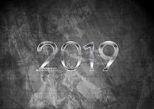 2019 Nieuwjaar op de donkere grijze achtergrond van de grungemuur stock illustratie