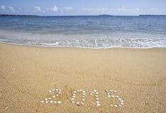 Nieuwjaar op het overzeese strand Royalty-vrije Stock Foto's