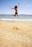 Nieuwjaar op het overzeese strand Stock Foto