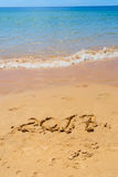 Nieuwjaar op het strand Royalty-vrije Stock Afbeeldingen