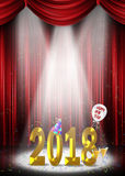 Nieuwjaar 2018 op stadium in schijnwerper Royalty-vrije Stock Afbeelding