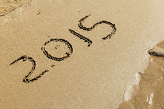 Nieuwjaar 2015 op zand Royalty-vrije Stock Fotografie