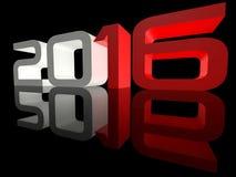 Nieuwjaar 2016 Perspectief Weerspiegelde Techno Royalty-vrije Stock Afbeeldingen