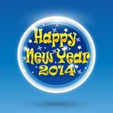 Nieuwjaar 2014 prentbriefkaar, brochure in cirkel, stuk speelgoed Stock Foto