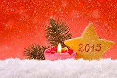 Nieuwjaar 2015 rode achtergrond Stock Afbeeldingen