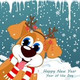 Nieuwjaar` s affiche Jaar van de Hond Royalty-vrije Stock Afbeelding