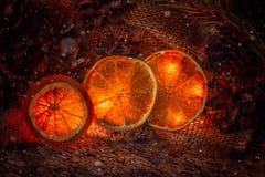 Nieuwjaar ` s, de kaart van de Kerstmisfee met denneappels en Kerstmislichten, oranje ringen Royalty-vrije Stock Foto